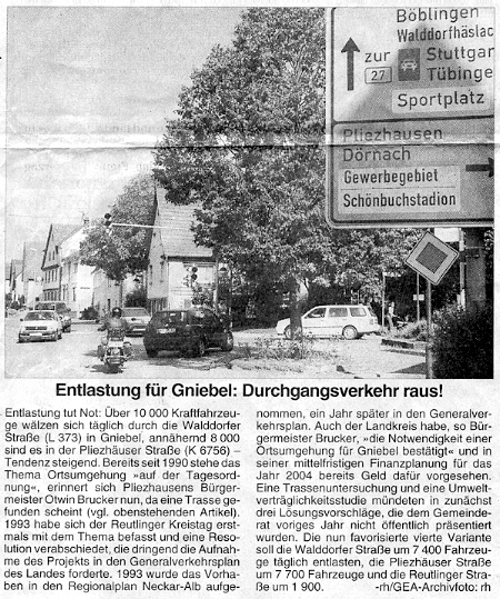 Presseberichte ortsumfahrung gniebel for Reutlinger general anzeiger immobilien